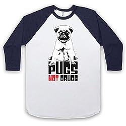 Pugs Not Drugs Slogan Manga 3/4 Camiseta del Béisbol, Blanco & Azul Marino, XL