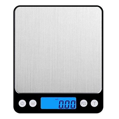 Amir Digitale Küchenwaage, Digitale Waage / hohe Präzision auf bis zu 0,1g (3kg Maximalgewicht), Tara-Funktion, ideal zum Messen von Zutaten, Schmuck, Reis, Mehl, Gold, Edelsteinen, Briefen, Briefmarken