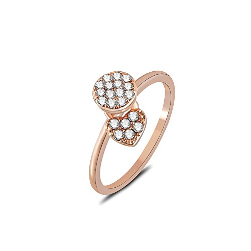 barbie, anello da ragazza e donna, anello in oro bianco e oro rosa, anello moda , anello di squisita fattura #BSJZ088 (Placcato oro rosa, diametro 17mm)