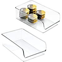 mDesign Juego de 2 cajas para latas o alimentos – Caja multiusos – Cesta organizadora ideal para almacenar sus cosas para el hogar – transparente