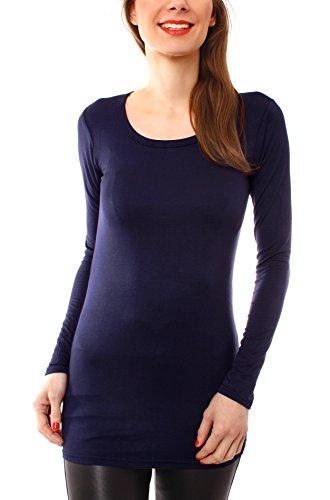 Damen Langarm T-Basic Shirt Lang Longshirt Langarmshirt Unterziehshirt Minikleid Unterkleid Rundhals Uni Marine S/M