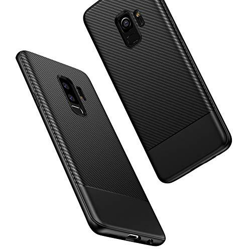 NALIA Handyhülle kompatibel mit Samsung Galaxy S9 Plus, Ultra-Slim Hülle Soft Silikon Case, Dünner Carbon Look Schutz Etui Handy-Tasche Back-Cover Bumper, TPU Smartphone Gummihülle, Farbe:Schwarz