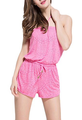 Damen Bikini Cover Ups Backless Floral 2017 Printed Neue Plus Size One Piece Set Beach Quick Drying Die Pink