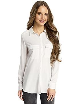 oodji Ultra Mujer Blusa Básica de Viscosa