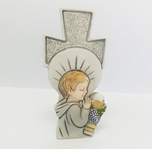 tück Gastgeschenk Bomboniere Kreuz Kommunion Kind Heilige Sacramento Eucarestia weiß Keramik Figur Unterstützung ()