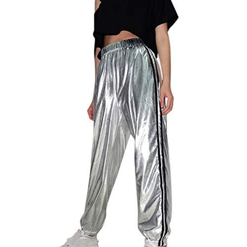 Ansenesna Hose Mit Seitenstreifen Damen High Waist Elegant Sporthose Frauen Streetwear Gummibund Locker Hosen