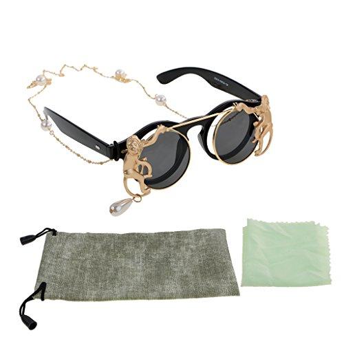 MagiDeal 1Stück Damen Runde form Sonnenbrille mit Perle Ketten Anhänger Outdoor Sonnenbrillen - Schwarz -