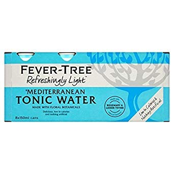 Fever Tree Refreshingly Light Mediterranean Tonic Water, 8 x 150 ml (Pack of 3, Total 24 Cans) - Light Tonic