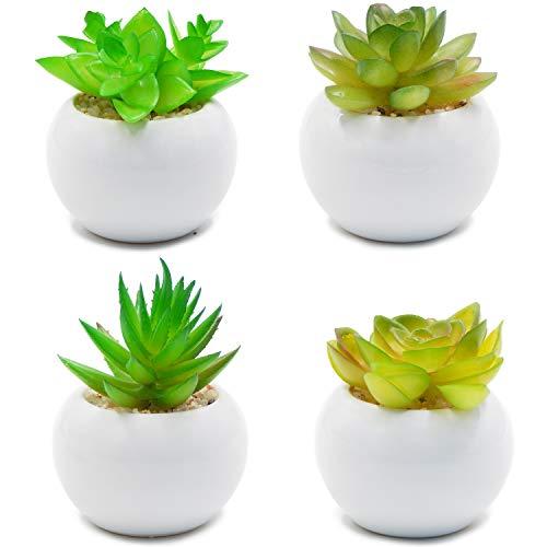 OFFIDIX Künstliche Pflanzen für Home & Office Dekoration mit Keramik Topf 4pcs / Set Indoor Fake Grüne Topfpflanze (Runde)