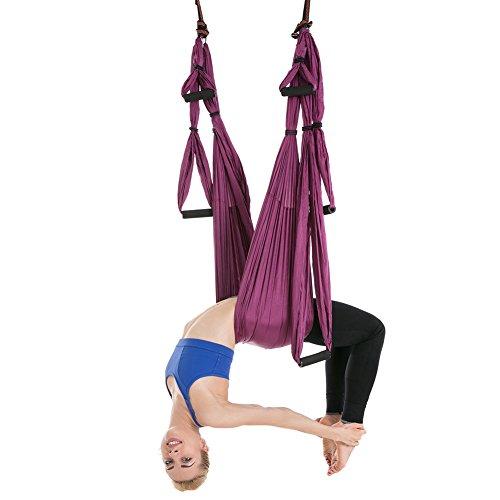 XTXWEN Hamaca de Yoga, Hamaca de Yoga aérea Multifuncional, Conjunto de Yoga de Seda aérea, Hamaca de Yoga antigravedad Duradera Segura Ultra Fuerte,Purple
