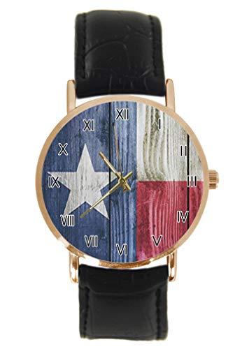 Wood Texas Flag American State Flagk Armbanduhr Fashion Classic Unisex Analog Quarz Edelstahl Gehäuse Lederarmband Uhren