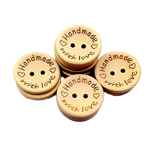Gespout 100 Stück Handmade Knöpfe Runde Handwerk Knöpfe Holz Knopf Kleidung Deko DIY Kleine Knopf Für Nähen Und Basteln (Style B) -