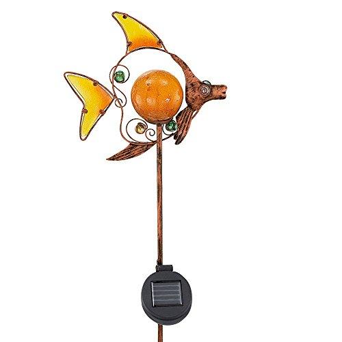 LED Solar Außen Steck Lampe Fisch Motiv Erdspieß Garten Beleuchtung Glas gelb Eglo 47098
