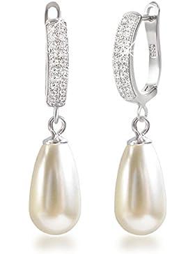 Schöner-SD, Perlenohrringe Ohrhänger mit großen Perlen, 925 Silber Rhodium mit glitzernden Zirkonia