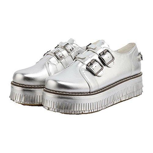 VogueZone009 Damen Weiches Material Rund Zehe Mittler Absatz Schnalle Rein Pumps Schuhe Silber