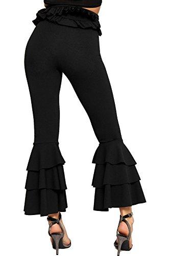 WEARALL - Femmes Asymétrique Crêpe Ébouriffer Volant Pantalon Élevé Waisted Dames Évasée Pantalon - 34-42 Noir