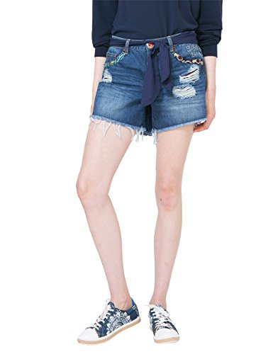 Desigual DENIM_EXOTIC Short Blue, Pantaloncini Donna, Blu (Denim Medium Wash 5053), W24