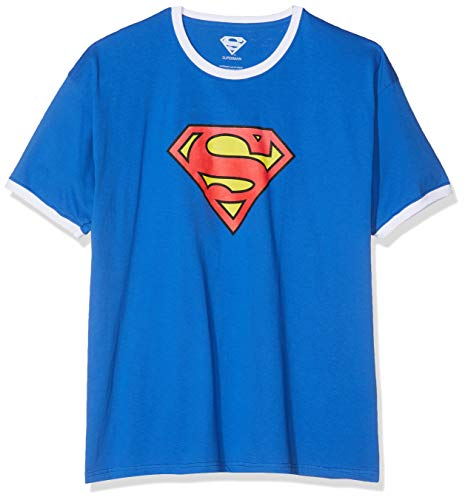 Dc comics superman logo t-shirt, royal/white, s uomo