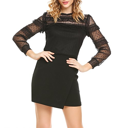 Damen Langarmshirt Lace Chiffon Shirt Herbst Elegant Transparent Ärmel Oberteile mit Tupfendessin A-schwarz