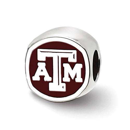 Lex & LU logoart Sterling Silber Texas A & M University ATM Kissen Form Logo Bead Texas A&m University Atm