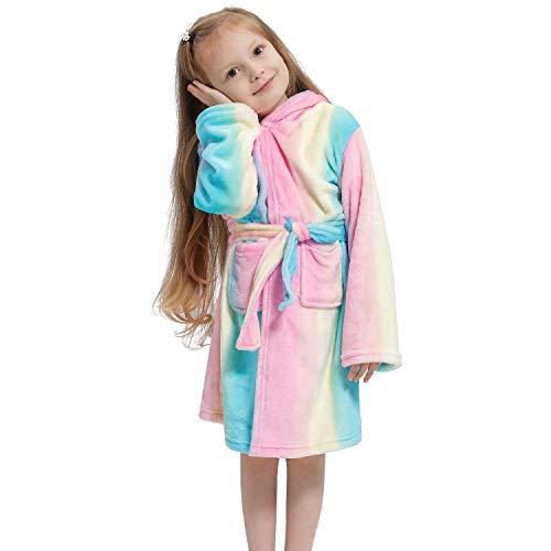 Kinder Einhorn Bademantel Kleinkind Mädchen Morgenmantel Flanell Hausmantel Nachthemd mit Kapuze Nachtwäsche