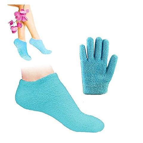 Pinkiou Soften SPA Gel Feuchtigkeitsspendende Handschuhe und Socken f¨¹r Moisturize Cracked Skin Care (Blau)