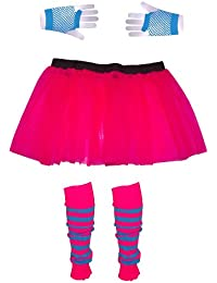 Girls 3 Layer Tutu set with Leg Warmers & Fishnet Gloves Age 4 to 12