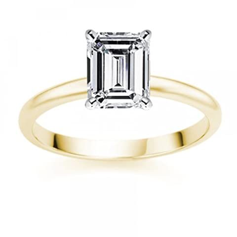 1.55 Carat E/IF Emerald Certified Diamond Solitaire Engagement Ring in 18k Yellow Gold