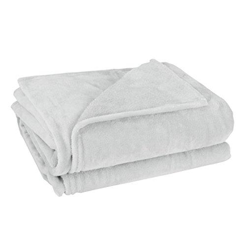 ammlung Weiches Fleece Plüsch Bett Sofa T/F/Q Tagesdecke - Hellgrau 2 X 2,3 M, 200 x 230cm ()