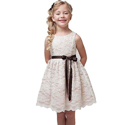 Mädchen Prinzessin Kleid Kostüm Hochzeit Ballkleid Festkleid Partykleider Gr. 80-140 (80 / 6-12 Monate, Beige) (Prinzessin Braut Kleid Kostüm)