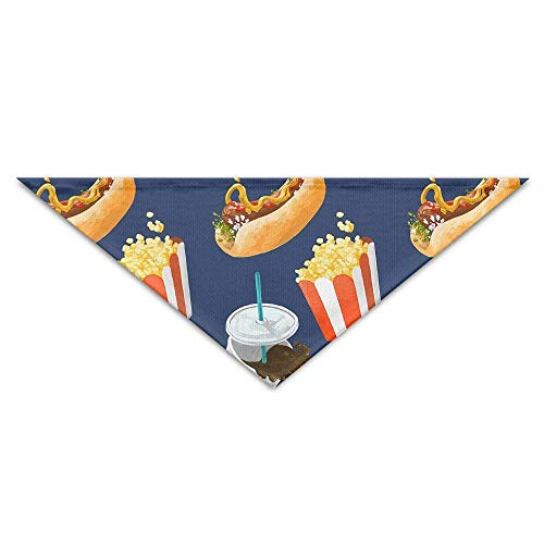 Kotdeqay Pet Triangle Bandana Food Hamburger Popcorn Washable Dog Puppy Scarf Bib Babys Neckerchief Accessories