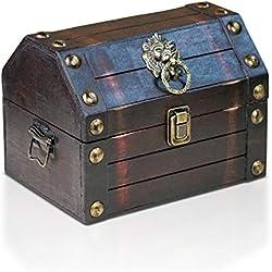 Cofre pirata de madera hecha a mano, 22 x 16 x 16 cm.