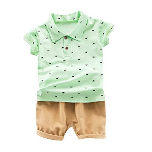 Toasye Kinder Baby Jungen Krone Bartdruck Kurzarm T-Shirt Tops + Solide Kurze Hose Lässige Outfits Set