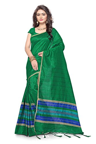 S. Kiran's Women's Green Artificial Khecha Mekhla Chador - Mekhela Sador