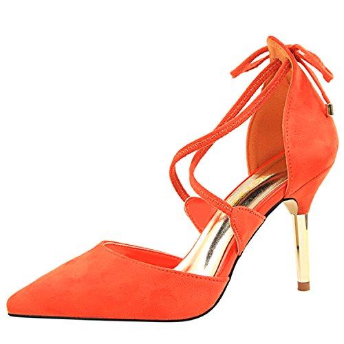 Oasap Women's Pointed Toe Cross Strap Stiletto Sandals Orange