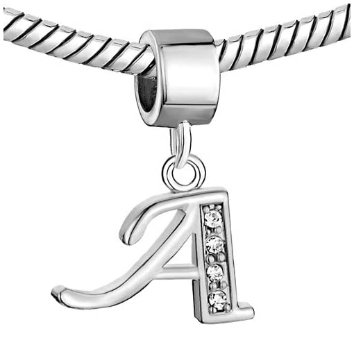 Alphabet Charms Letters Initial A-Z Dangle Clear Birthstone Fit Pandora Chamilia Charms Bracelets