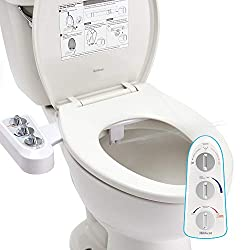 Bidet Toilet Seat Attachment with Self Cleaning Dual Nozzle, Hot and Cold Water Spray Non-Electric Mechanical Toilet Seat Bidet for Rear or Female Washing Sanitizing-T-Adapter (1/2