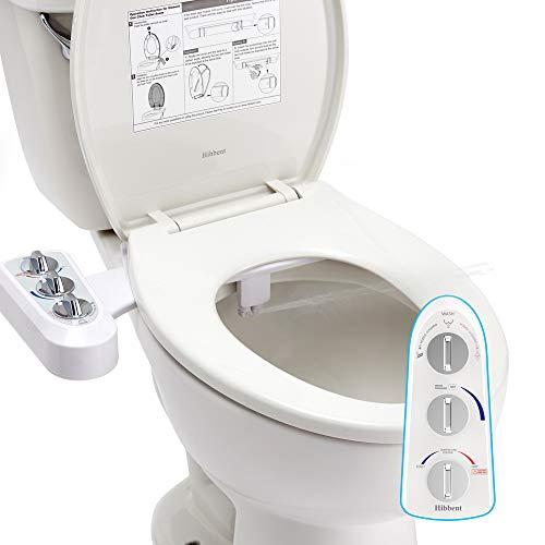 Hibbent WC Bidet, Cold/Heiß Water Bidet Dusch-WC (ohne Strom) Warmwasserfunktion,Intimreinigung mit Selbstreinigende Düsen Wasserstrahl regulierbar Po Dusche und Lady-Dusche(Verbinder 1/2'')