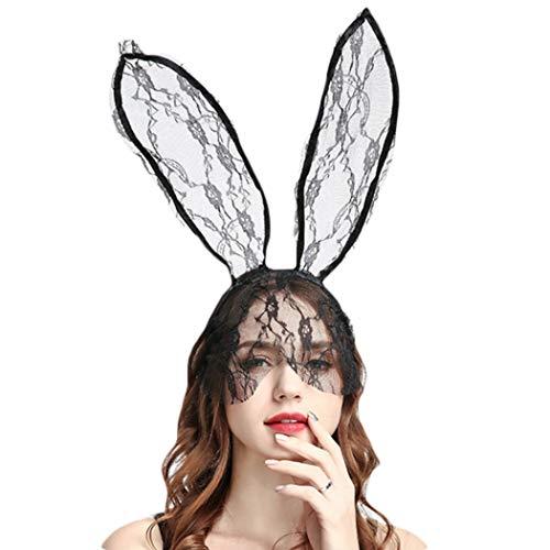 BINGMAX Stirnband Haarreif mit Bunny Ohren und Schleier Spitze Hasenohren Stirnband Haarband Cosplay Party Karneval Osterhase Maske Kostümzubehör