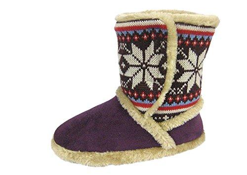 Cooler Nordik & Design chaussons d'intérieur en suédine doublées matière Snugg 078 coffre Violet - Prune