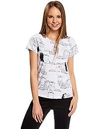 oodji Ultra Mujer Camiseta de Algodón con Estampado Gatos