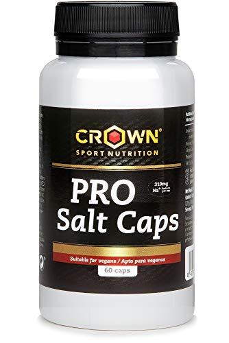 Crown Sport Nutrition PRO Salt Caps, Sales minerales altamente biodisponibles. La mayor cantidad de sodio del mercado. Aporta todos los electrolitos perdidos en el sudor - 60 caps