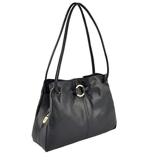 Da donna in pelle morbida, con tracolla borsa Gigi Othello collezione classico ed elegante Navy
