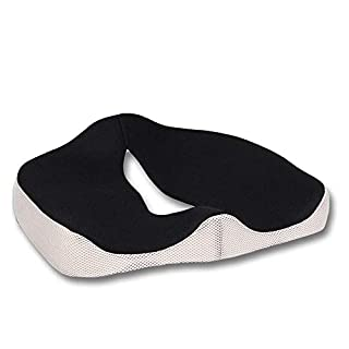 AZX Memory Foam Seat Cushion Ergonomic Seat Pad Relieving Back Sciatica Tailbone Pain & Improve Posture Orthopedic Chair Cushion Breathable Chairs Couches Car Seats 45 * 38 * 13cm Black & White