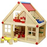 SMILY PLAY Puppenhaus Holz 23Tlg Spielhaus Puppenstube Puppenspielhaus Spielzeug