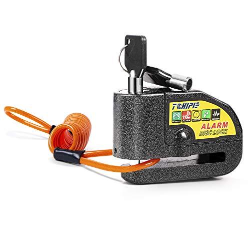 Candado Freno de Disco, Alarma de 110 dB, Antirrobo, Impermeable, con Cable de Recordatorio de 4 Pies, 3 Llaves hasta 7 mm de Grosor, para Motocicleta, Negro