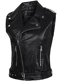 URqueen Women's Sleeveless Faux Leather Lapel Zipper Vest Waistcoat