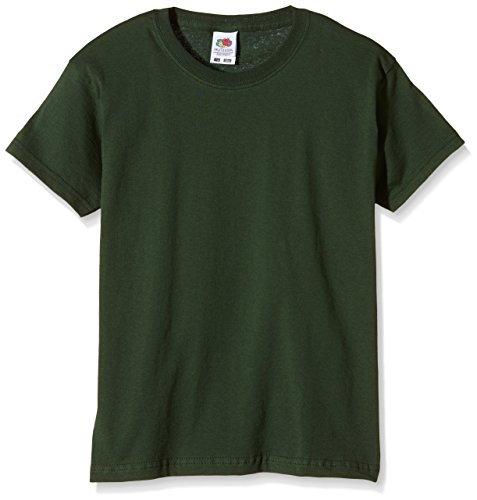 Fruit of the Loom Jungen T-Shirt Ss132b, Green (Bottle Green), 12 Jahre (Sleeve Shirt Pique Knit)