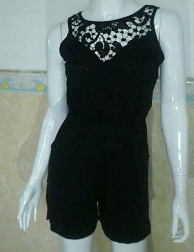 GSP-courtes combinaisons blanc / noir solides, de la dentelle autour du cou manches dos nu des femmes black-s