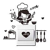 Dinglong DrôLe Cuisine Wall Sticker Chambre Salle De Bains Interrupteur Decor Cuisine Maison Stickers Couteau Et Fourchette Ensemble Lettres Mur Affiche MèRes Meilleur Cadeau (Noir)